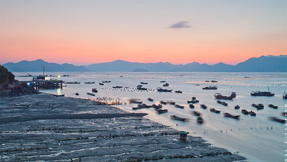 夕阳与滩涂